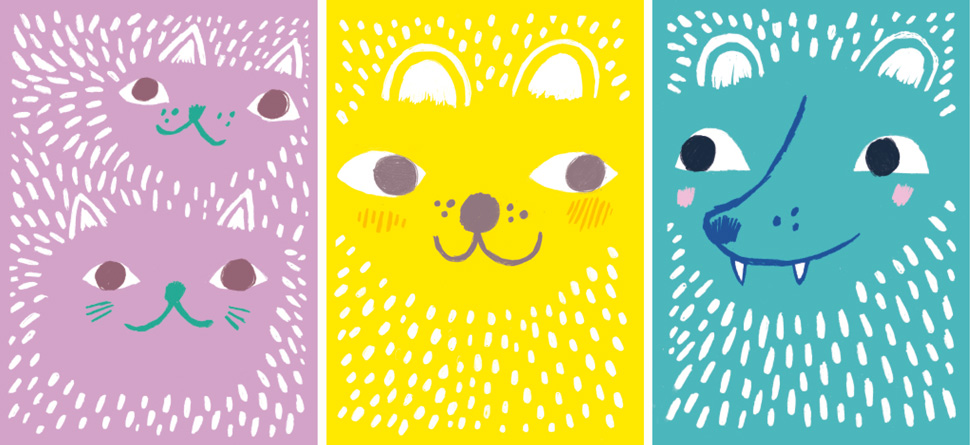 Poster illustrations of furry animals