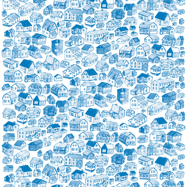 Blue drawing of houses in Nordic countries