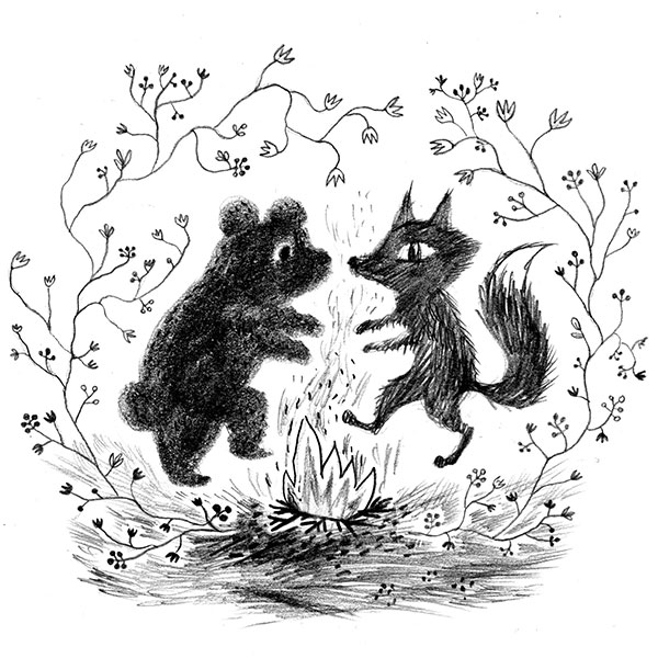 Pencil drawing about bear and fox dancing.