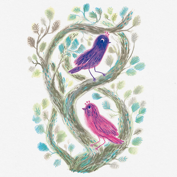 Drawing of two colorful birds