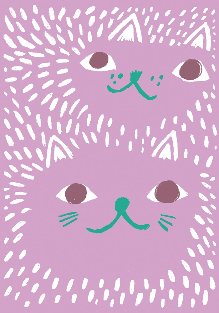 Illustration of two lilac cats