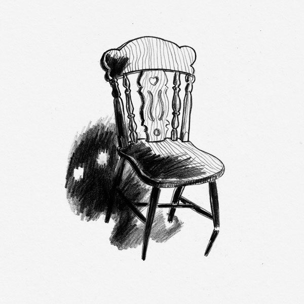 Pencil drawing about a chair and a ghost