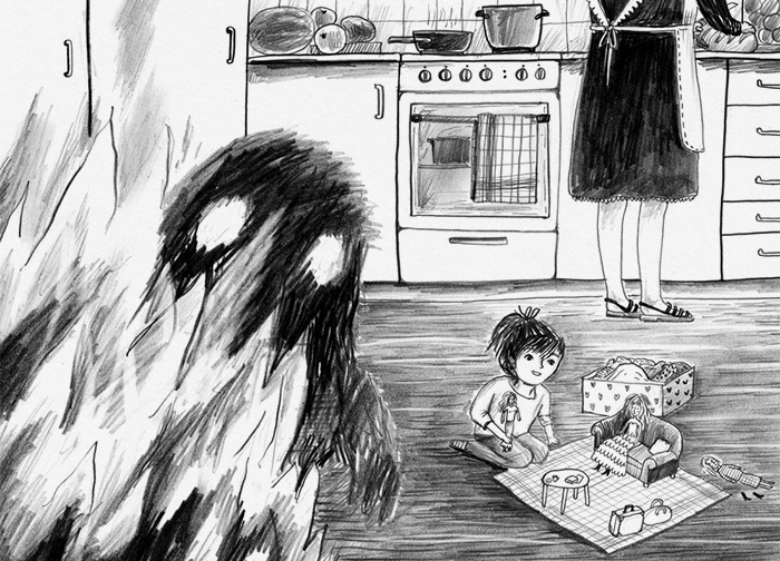 Black and white drawing of sad and happy family in the kitchen
