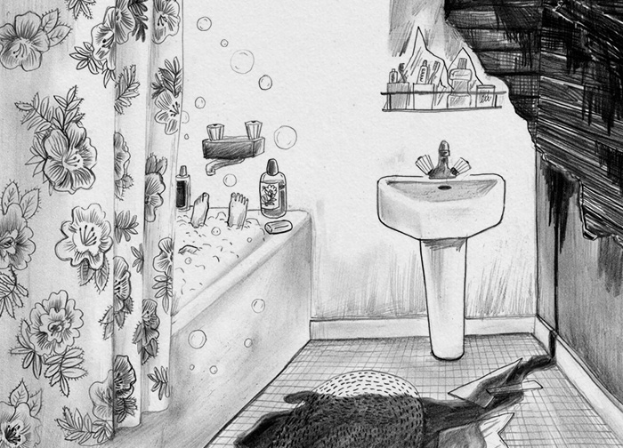 Black and white drawing of sad and happy bathroom