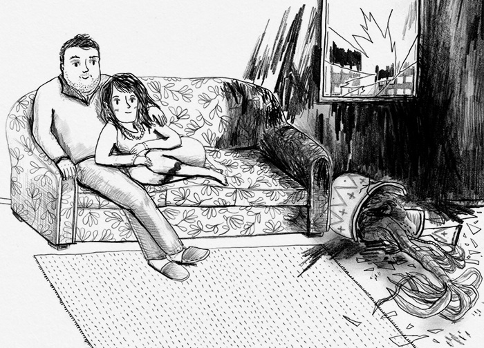 Black and white drawing of sad and happy family on a sofa