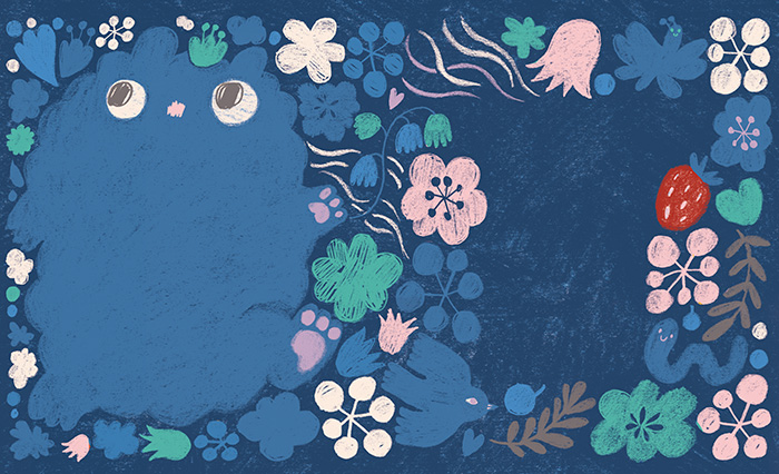Drawing of a blue night animal and flowers