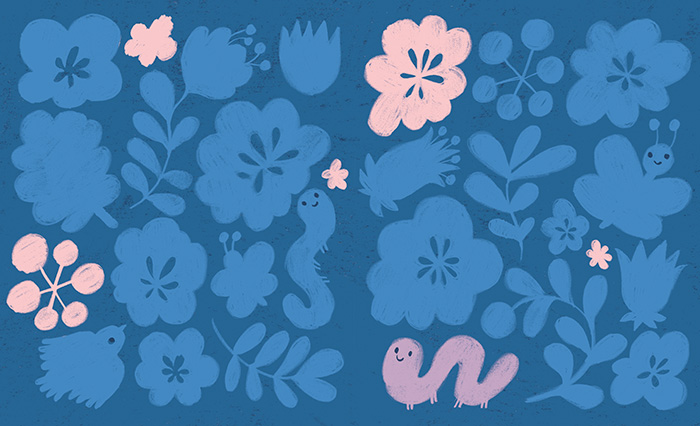 Drawing of a blue night animal and flowers pattern