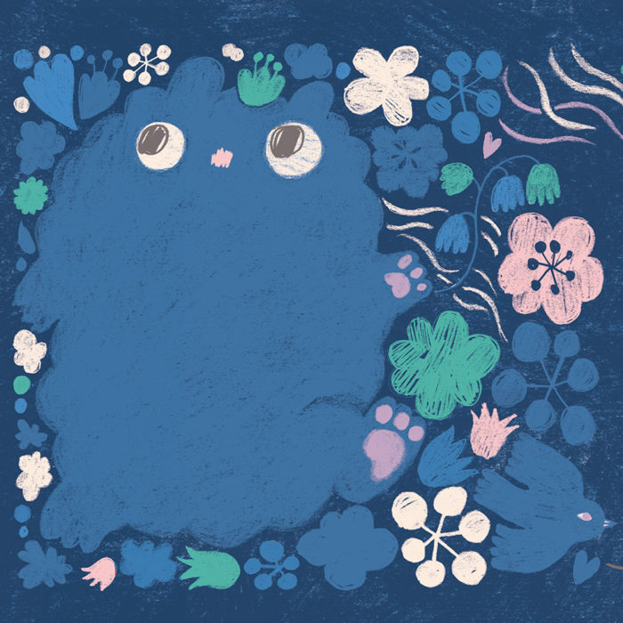 Detail of a drawing of a blue night animal with flowers