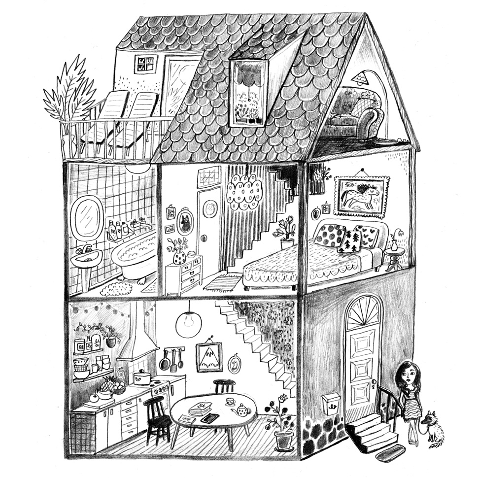 Pencil drawing of a doll house
