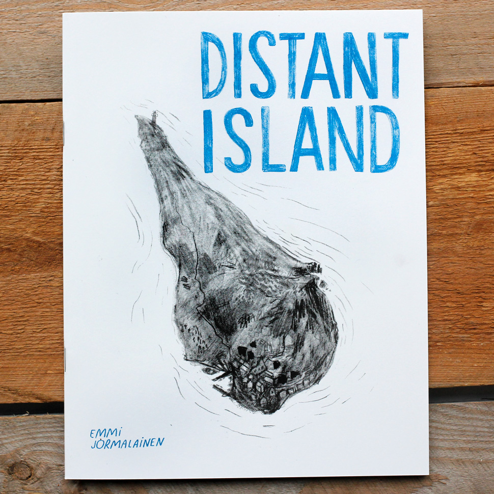 Black and white cover for art zine Distant Island