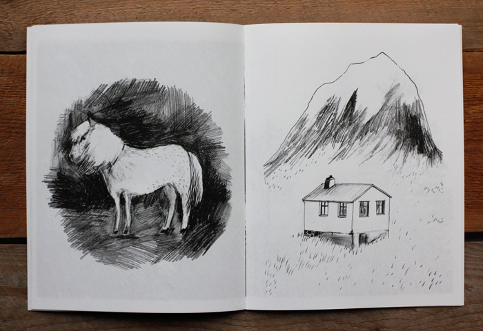 A spread with a horse and a house from the art zine Distant Island