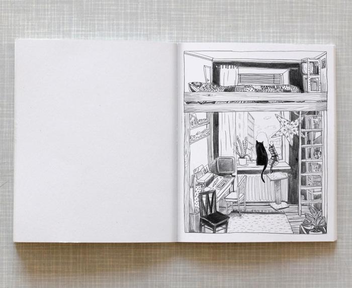 Artist book Home Taiteilijakirja Koti: View from apartment in Helsinki