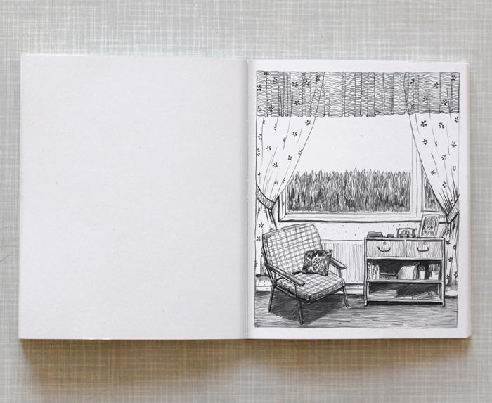Artist book Home Taiteilijakirja Koti: View from apartment in Gothenburg