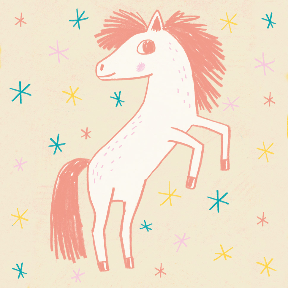 Color drawing of an icelandic horse and colorful stars