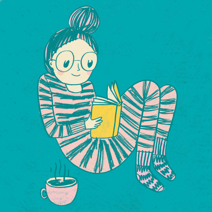 Color drawing of a girl reading a book in pyjamas