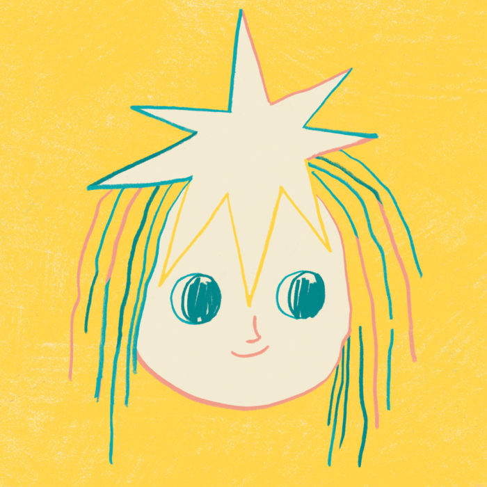Color drawing of a girl with star in her head