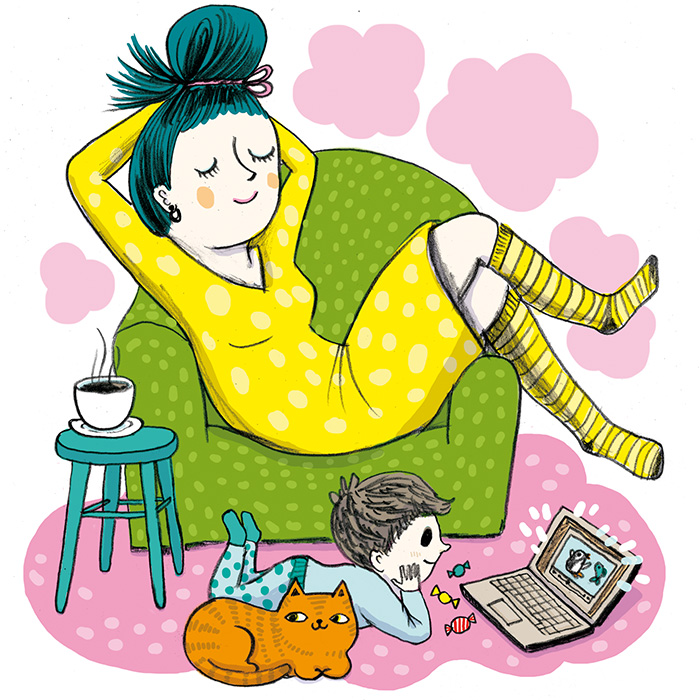 Color illustration of a mom chilling and a boy with laptop