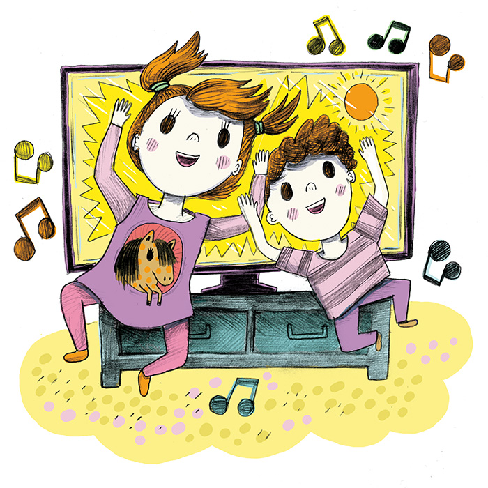 Color illustration of dancing toddlers