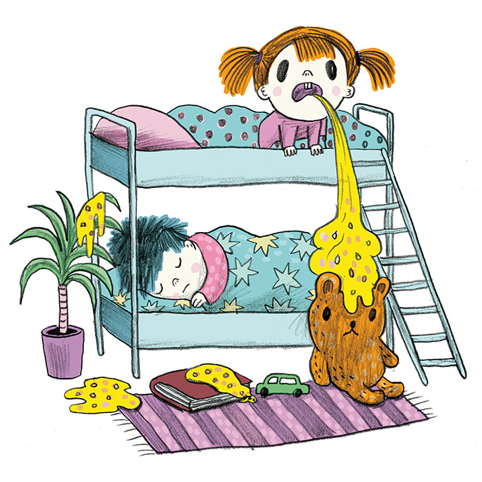 Color illustration of vomiting toddlers