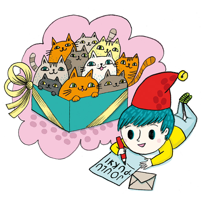 Color illustration of a boy wishing 10 cats for Christmas