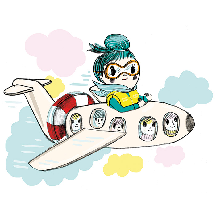 Color illustration of a woman flying an airplane.