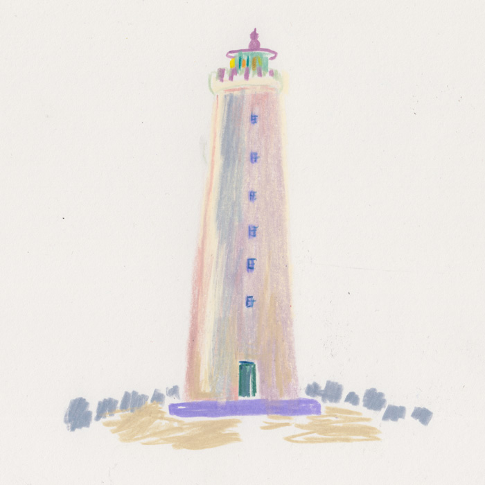 Color pencil drawing of a lighthouse Grotta near Reykjavik