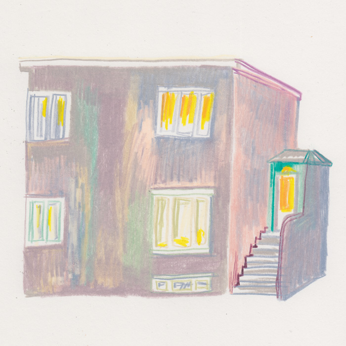 Color pencil drawing of a house in Reykjavik