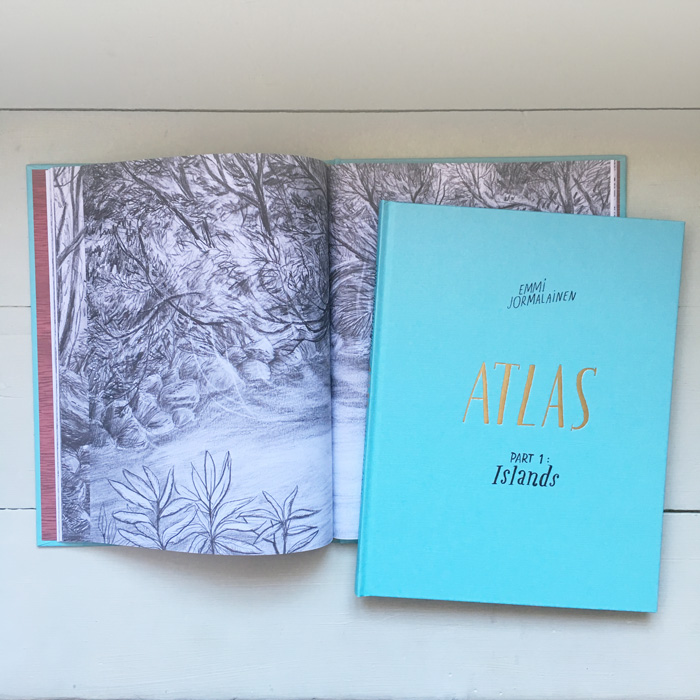 Book Cover and Spread for Atlas Part 1 Islands Artist's Book