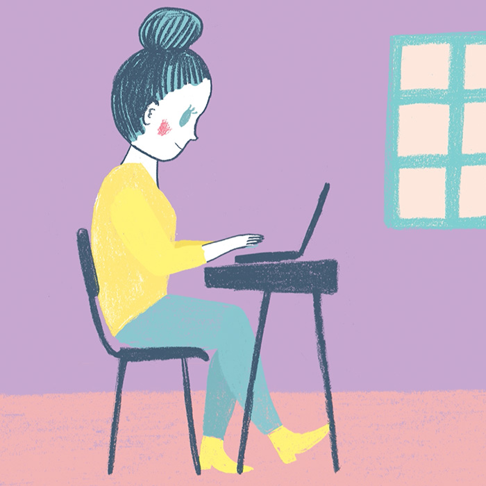 illustration endometriosis woman working