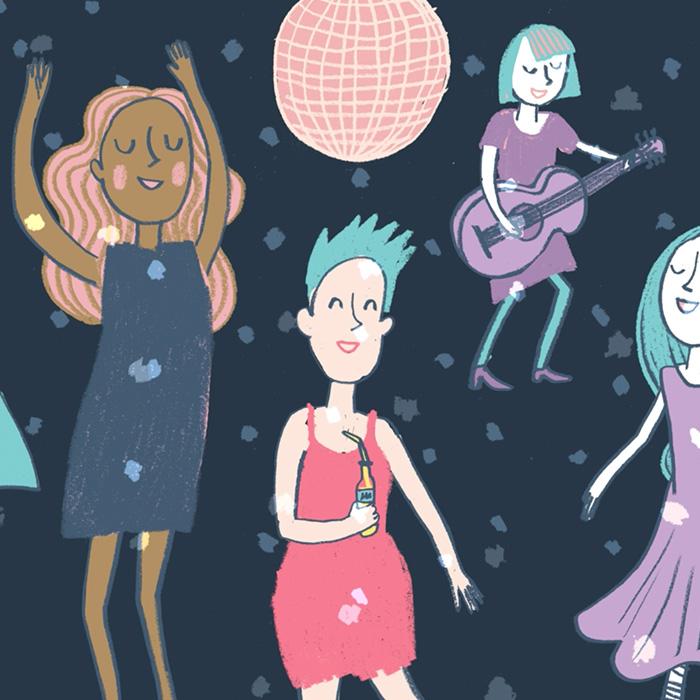 illustration endometriosis women dancing disco