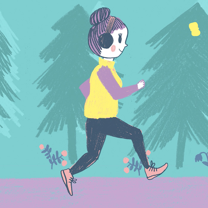 illustration endometriosis woman running