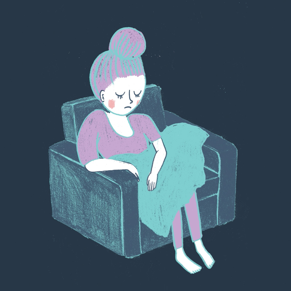 illustration endometriosis woman pain